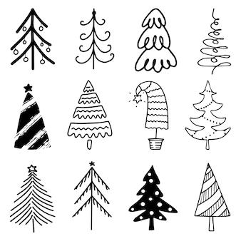 Insieme disegnato a mano di alberi di natale. sfondo di vacanze.