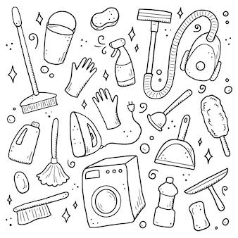 Insieme disegnato a mano di attrezzature per la pulizia, spugna, aspirapolvere, spray, scopa, secchio. stile di schizzo di doodle comico. elemento pulito disegnato da pennarello digitale. illustrazione per icona, cornice, sfondo.