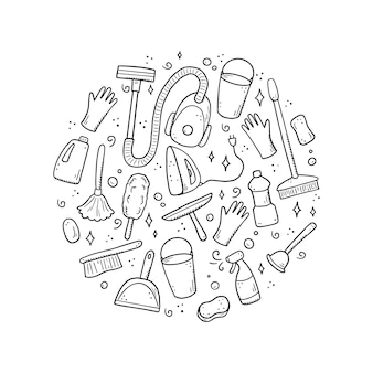 Insieme disegnato a mano di attrezzature per la pulizia, spugna, aspirapolvere, spray, scopa, secchio. stile di schizzo di doodle comico.