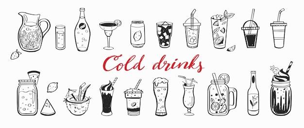 Insieme disegnato a mano di bevande fredde cocktail estivi e bevande
