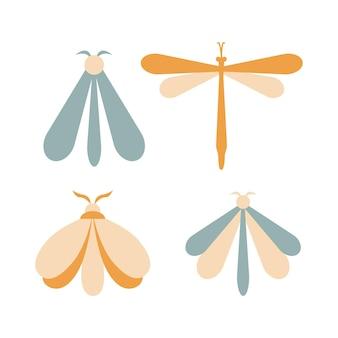Insieme disegnato a mano di falena di colore isolato su priorità bassa bianca. illustrazione vettoriale di farfalla. simboli misteriosi. design per compleanni, feste, stampe di abbigliamento, biglietti di auguri.