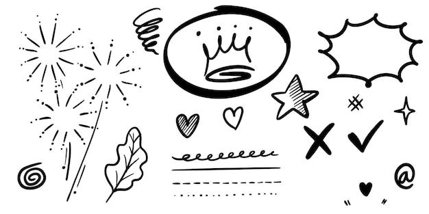 Insieme disegnato a mano di swish ricci, swash, swoops. frecce astratte, freccia, cuore, amore, stella, foglia, sole, luce, corona, re, regina, in stile scarabocchio per il concept design. illustrazione vettoriale.