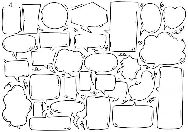 Insieme disegnato a mano del fumetto sveglio nello stile di scarabocchio