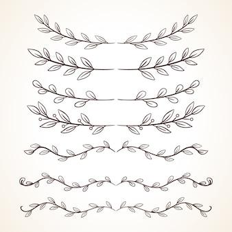 Insieme disegnato a mano di cornici decorative bordi elementi di decorazione della pagina