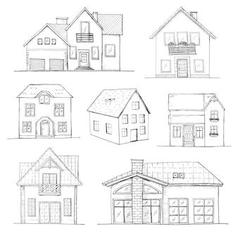 Insieme disegnato a mano di case diverse. illustrazione in stile schizzo.