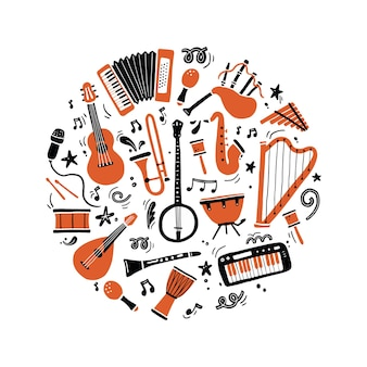 Insieme disegnato a mano di diversi tipi di strumenti musicali, chitarra, sassofono. stile di schizzo di scarabocchio.