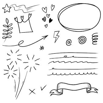 Elementi di doodle set disegnati a mano per concept design isolato su priorità bassa bianca. illustrazione vettoriale.