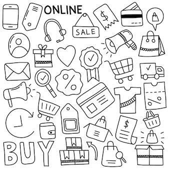 Insieme disegnato a mano dell'icona di e-commerce