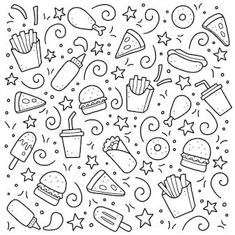 Insieme disegnato a mano di elementi di fast food. illustrazione di stile di doodle.