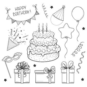 Insieme disegnato a mano di elementi festivi. buon compleanno. torta, bandiere, maschera, palloncino, confezione regalo. schizzo. illustrazione vettoriale.