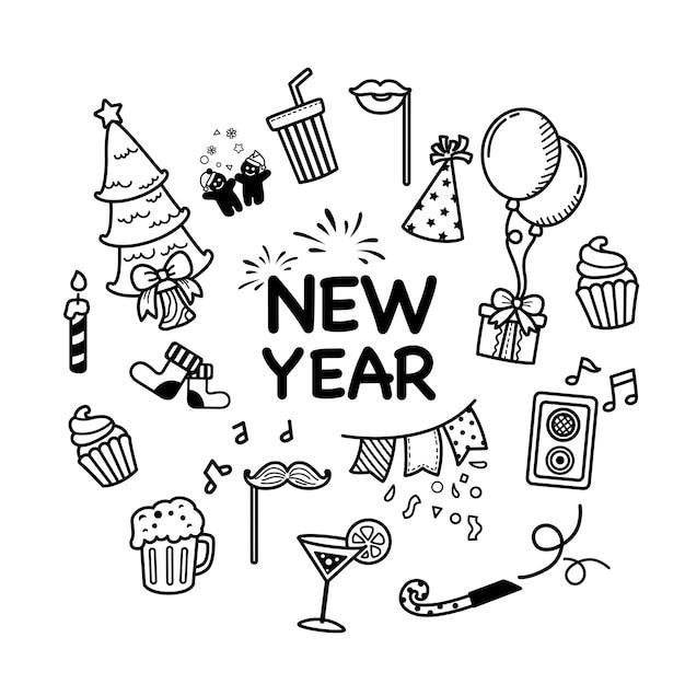 Insieme disegnato a mano felice anno nuovo e buon natale