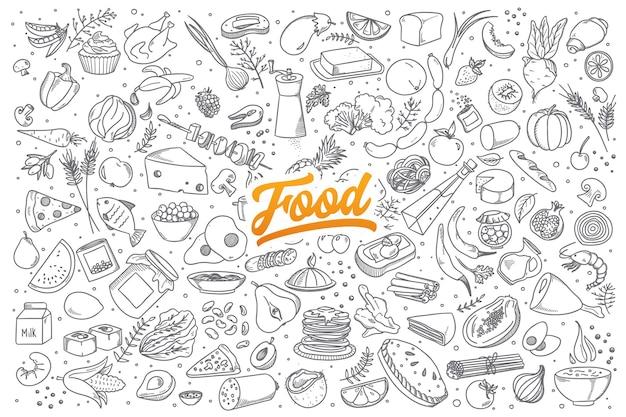 Insieme disegnato a mano di ingrediente alimentare sano scarabocchi con scritte