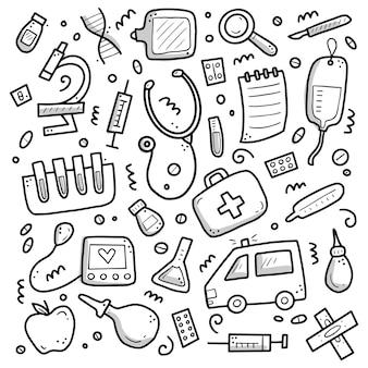 Insieme disegnato a mano di elementi di medicina, pillola, tablet, stetoscopio.