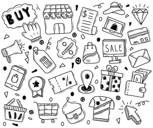 Insieme disegnato a mano di ornamenti per lo shopping online