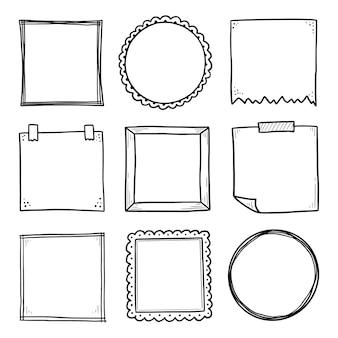 Insieme disegnato a mano di cornice adesiva di carta