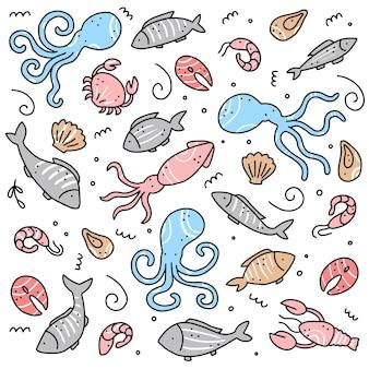 Insieme disegnato a mano di elementi di frutti di mare. illustrazione di stile di doodle.