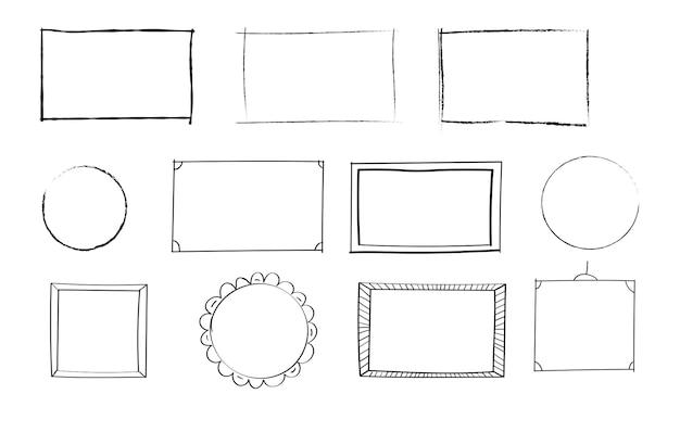 Insieme disegnato a mano di semplici cornici e bordi con diverse forme rettangolari quadrate ovali