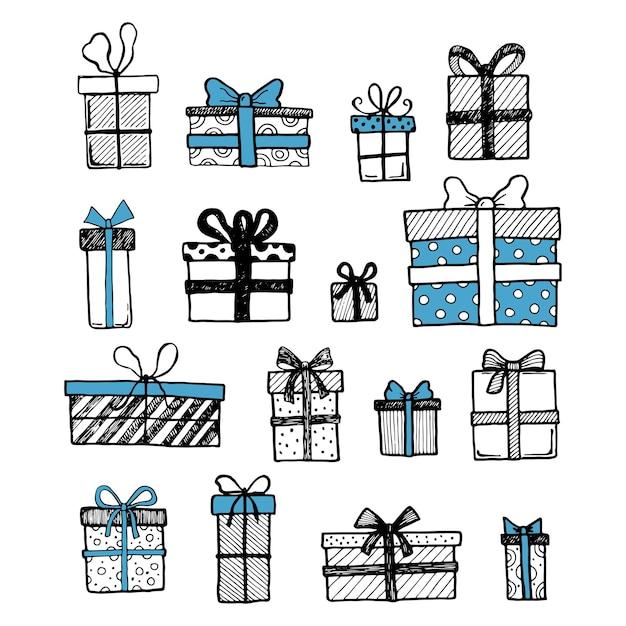 Set disegnato a mano di regalo semplice e presente con forme diverse. tagliare l'illustrazione vettoriale isolata per il tuo disegno di banner di natale, compleanno. stile di schizzo di scarabocchio. elementi della confezione regalo disegnati da pennello-penna.