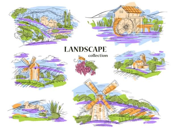 Set disegnato a mano di sei paesaggi rurali con fienile, mulino ad acqua, vigneti, lago, campi, colline