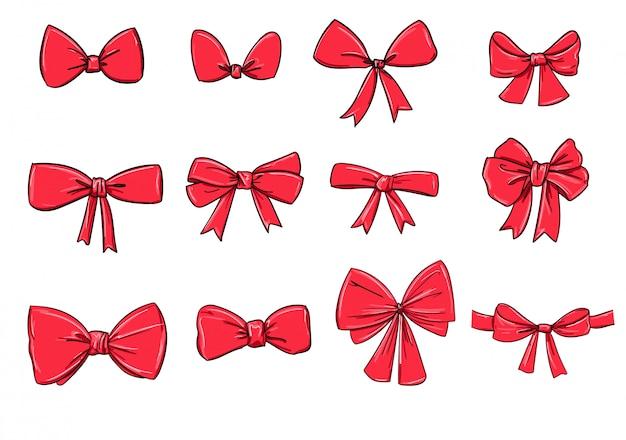 Arco di schizzo set disegnato a mano. illustrazione. fiocco rosso isolato su bianco