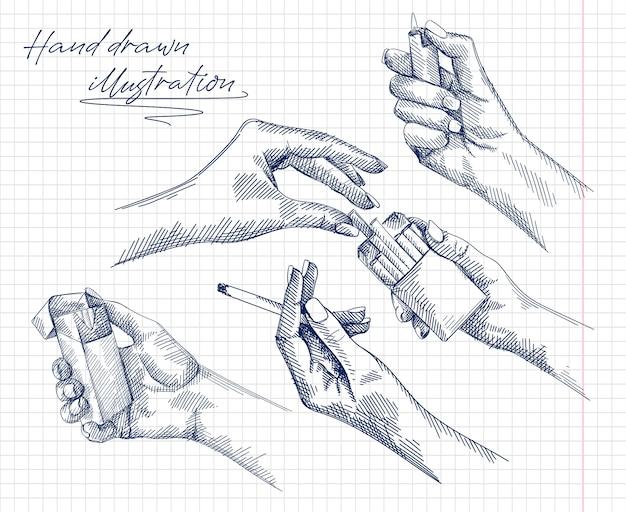 Insieme disegnato a mano di schizzi di una mano di donna che tiene e brucia una sigaretta, mani femminili che ottengono una sigaretta dal pacchetto di sigarette, mano che tiene un accendino. mano femminile che accende un accendino.