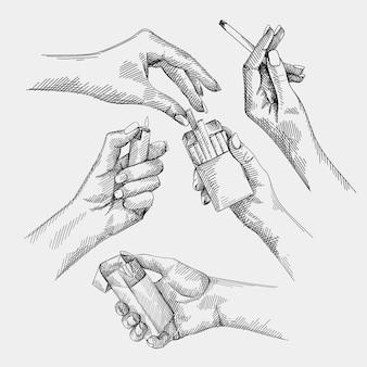 Insieme disegnato a mano degli schizzi di una mano della donna che tiene una sigaretta e che brucia una sigaretta, mani femminili che ottengono una sigaretta dal pacchetto di sigarette, mano femminile che accende un accendino.