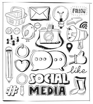 Insieme disegnato a mano del segno di media sociali e simbolo doodles elementi.