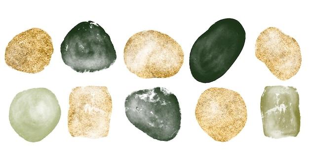 Insieme disegnato a mano di varie forme acquerellate in oro e verde e oggetti organici