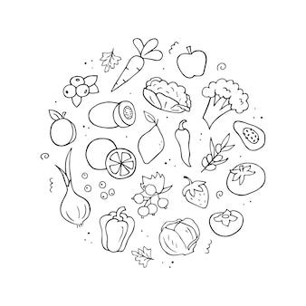Insieme disegnato a mano di fonti di vitamina c. verdure, frutta, bacche.