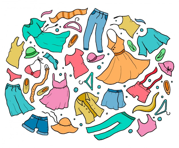 Insieme disegnato a mano di elementi di vestiti ed accessori estivi donna. illustrazione di stile di doodle.