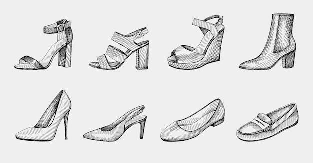 Set di scarpe da donna disegnate a mano. scarpe col tacco largo, stivaletti alla caviglia su tacco medio, ballerine, décolleté, tacchi a spillo, sandali con punta aperta, tacco medio con cinturino, sandali con zeppa, mocassini, pantofole, mocassini.