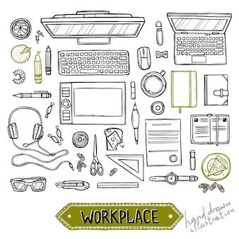 Insieme disegnato a mano di elementi di lavoro e affari vista dall'alto. vista dall'alto sul posto di lavoro