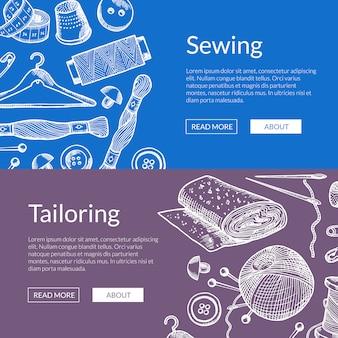 Illustrazione di banner web orizzontale di elementi disegnati a mano da cucire