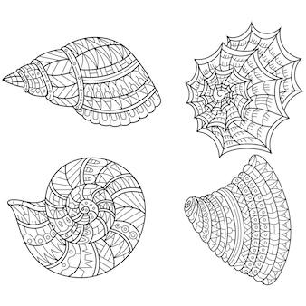Disegnato a mano di conchiglie in stile zentangle