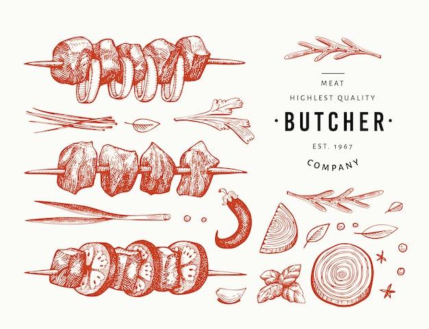 Spiedini di shish disegnati a mano, spezie ed erbe aromatiche, set per barbecue.