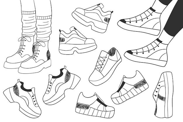Set di scarabocchi di scarpe disegnate a mano collezione di scarpe da ginnastica set di paia di gambe femminili nelle scarpe da ginnastica