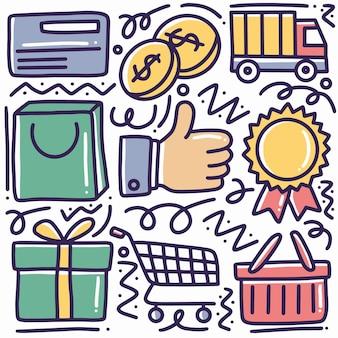 Doodle di acquisto disegnato a mano impostato con icone ed elementi di design
