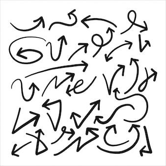 Schizzo disegnato a mano di freccia set