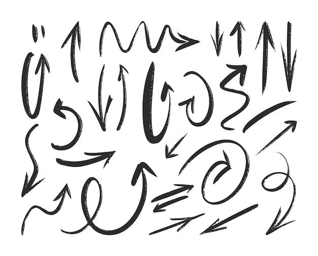 Frecce di schizzo disegnato a mano.