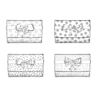 Schizzo disegnato a mano del regalo scatola con set di prua.