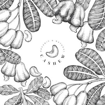 Disegno di anacardi schizzo disegnato a mano