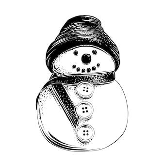 Schizzo disegnato a mano del pupazzo di neve di natale in nero