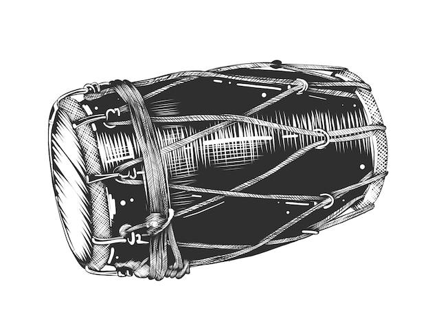 Schizzo disegnato a mano del tamburo in bianco e nero