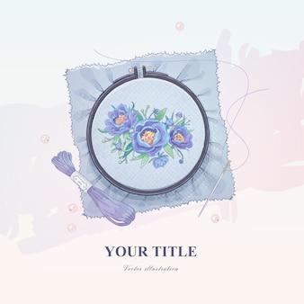 Schizzo disegnato a mano di fiori e cerchio da ricamo