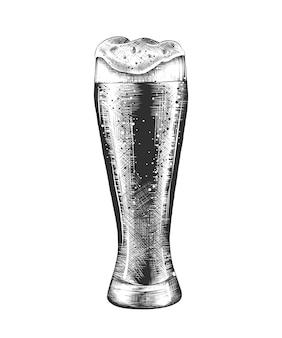 Schizzo disegnato a mano di bicchiere di birra in bianco e nero