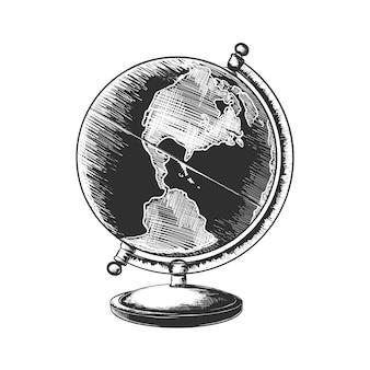 Schizzo disegnato a mano del globo in bianco e nero