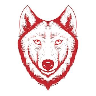 Schizzo disegnato a mano illustrazione di una testa di lupo vista frontale colore rosso