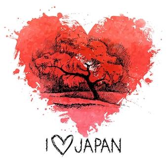 Schizzo disegnato a mano illustrazione giapponese con cuore acquerello splash
