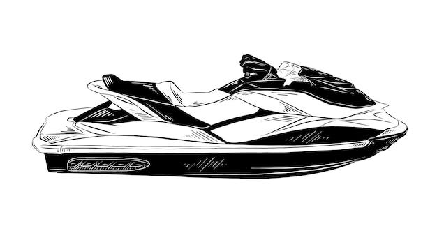 Schizzo disegnato a mano di jet ski in nero