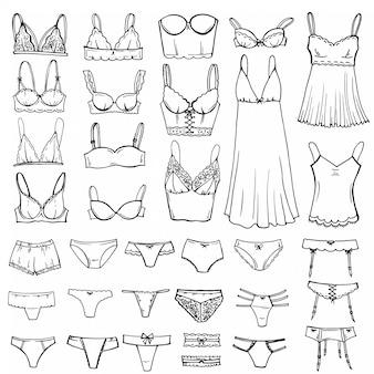 Schizzo disegnato a mano set di lingerie.